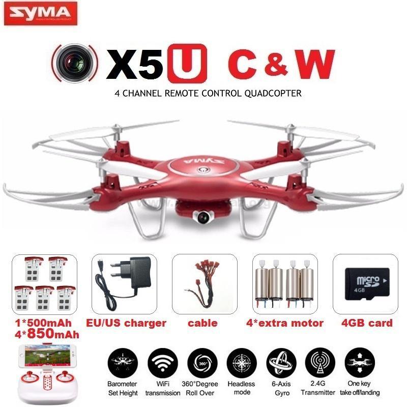 SYMA X5UW X5UC FPV RC Drone With 720P WiFi 2MP HD Camera 2 4G 4CH 6Axis1 - کوادکوپتر دوربین دار SYMA X5uw با خلبان خودکار