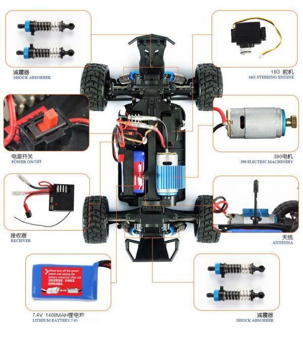 ماشین کنترلی آفرود WLToys K929b سرعتی و دو دیفرانسیل